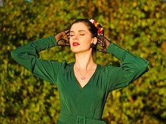 RetroCat wearing a green dress by Miss Candyfloss