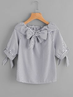 Best 12 Shop Fold Over Neckline Pinstripe Bow Tie Detailed Top online. SheIn offers Fold Over Neckline Pinstripe Bow Tie Detailed Top & more to fit your fashionable needs. Dresses Kids Girl, Kids Outfits, Cute Outfits, Blouse Styles, Blouse Designs, Stylish Dresses, Fashion Dresses, Trendy Fashion, Kids Fashion