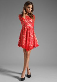 FREE PEOPLE Floral Mesh Lace Dress in Hot Red at Revolve Clothing - Free Shipping!