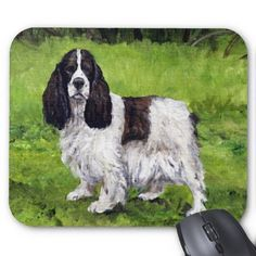 """""""Springer Spaniel"""" Dog Art Mousepad  Click on photo to purchase. Check out all current coupon offers and save! http://www.zazzle.com/coupons?rf=238785193994622463&tc=pin"""