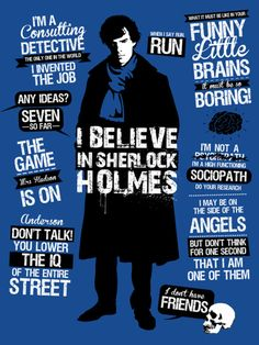 Sherlock quotes in a handy t-shirt sized format... Not my design, but good inspiration as I work on mine.