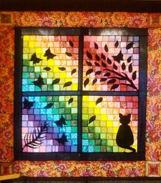 Quilt by Lorraine Hunt - Cat silhouette window quilt curtain