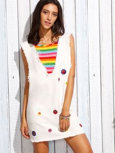 Shop Deep V Neck Eyelet Frayed Tank Dress With Colorful Striped Cami Top online. SheIn offers Deep V Neck Eyelet Frayed Tank Dress With Colorful Striped Cami Top & more to fit your fashionable needs.