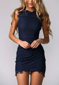 Revamp your date look by going for something subtly sweet but über sophisticated, like this navy blue lace sheath dress. #Sexydresses