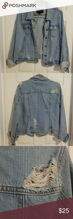 Distressed jean jacket Distressed jean jacket - New without tags Forever 21 Jackets & Coats Jean Jackets