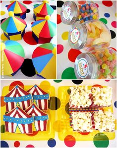 Circus Carnival Birthday Party Sweet and Desserts Tables