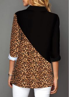 Leopard Print Contrast Panel Button Up Shirt Stylish Dress Designs, Trendy Tops For Women, Animal Print Fashion, Western Dresses, Vintage Outfits, Vintage Clothing, Vintage Dresses, Shirt Blouses, Printed Shirts
