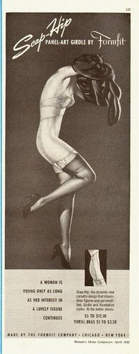 1941 vintage girdle AD, Scap-Hip Panel-Art Girdle, FORMFIT,