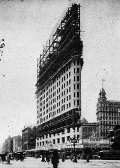 Daniel Burnham, The Flatiron Building Under Construction, New York, New York, 1902 New York Buildings, Famous Buildings, Flatiron Building, Daniel Burnham, Architectural Engineering, Building Facade, Going On Holiday, City Architecture, Beautiful Buildings