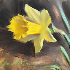 "Daily Paintworks - ""Daffodil"" - Original Fine Art for Sale - © Elena Katsyura Tea Cup Art, Acrylic Painting Techniques, Fine Art Gallery, Fabric Painting, Daffodils, Painting Inspiration, Art For Sale, Art Lessons, Flower Art"
