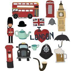 Set of 16 British Travel Hand Drawn Digital by scrapitsideways