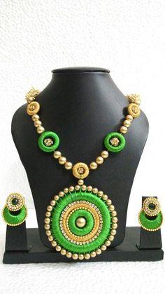 Green Haram Chandbali Silk Thread Jewellery Set