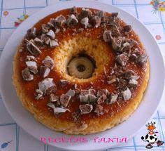 Flan con galletas de chocolate blanco