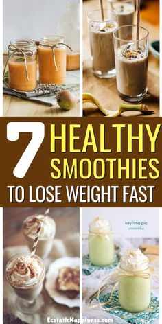 7 Easy & Healthy Smoothie Recipes for Weight Loss - Low Cal - Breakfast Smoothie Weight Loss Meals, Weight Loss Drinks, Weight Loss Smoothies, Weight Gain, Weight Control, Key To Losing Weight, Easy Weight Loss, Fat Burning Detox Drinks, Fat Burning Foods