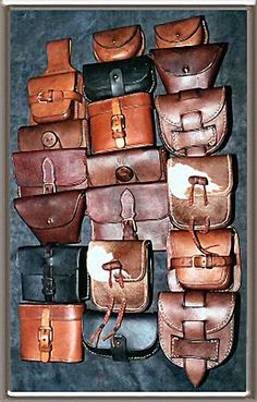 A selecton of leather pouches made for various films Leather Pouch, Leather Purses, Leather Handbags, Leather Backpack, Sewing Leather, Leather And Lace, Leather Craft, Waist Pouch, Belt Pouch