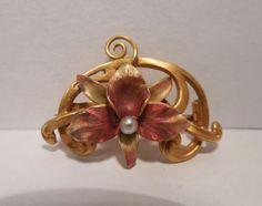 Vintage Victorian 14K Gold Seed Pearl Iridescent Enamel Iris Flower Pin Pendant