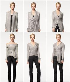 Shop Women's DKNY size S Sweaters at a discounted price at Poshmark. Description: DKNY Cozy multi way wear sweater. Donna Karan, Sewing Clothes, Diy Clothes, Convertible Clothing, Infinity Dress, Wrap Cardigan, Couture, Cute Fashion, Fashion 101