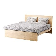 IKEA - MALM, Bed frame, high, Full, Leirsund, , Real wood veneer will make this bed age gracefully.Adjustable bed sides allow you to use mattresses of different thicknesses.39 slats of layer-glued birch, divided into 5 comfort zones, adjust to your body weight and increase the suppleness of the mattress.