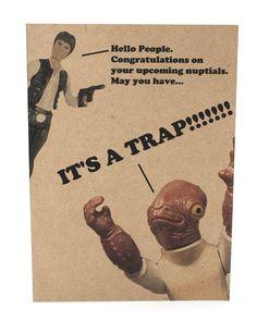 Admiral Ackbar Trap Wedding card and envelope - Star Wars - Geek birthday card - awesome.