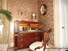 Miss Bessie's Parlor at the 1845 Doric House in Flemington. The room is decorated in the Rococo Revial style (1840-1870). The home was built in the Greek Revival style by Mahlon Fisher, an architect/builder of the time, whose work can be seen at three other buildings in Flemington. Throughout its history, this building served as an Odd Fellow Hall, restaurant, and was used by a church before being purchased in 1969 by the Society and restored. Discover more history @ www.thehistorygirl.com