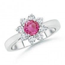 Sunflower Inspired Pink Sapphire and Diamond Tapered Shank Ring http://www.angara.com/p/round-pink-sapphire-and-diamond-flower-ring-sr0102ps.html