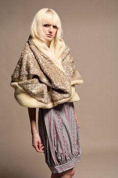 Shida Tatsuya Metallic Woolen Cape Coat