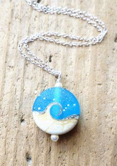 Ocean Necklace Beach Necklace Ocean Jewelry Aqua Blue Lampwork Wave Necklace, Etsy, Gift, by JBMDesigns