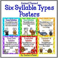 FREE Syllable Types Posters - Animal Themed