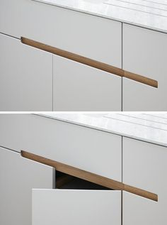 furniture details No Hardware For The Kitchen Cabinets In This London Home // This kitchen has white melamine cabinets with a recessed finger detail made from European oak, to make it easy to open the drawers and cabinets. Kitchen Cabinets Without Hardware, Kitchen Handles, Kitchen Cabinetry, Kitchen Drawers, Drawer Handles, Drawer Pulls, Door Handles, Furniture Handles, Kitchen Furniture