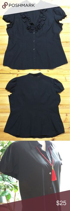 "LOFT BLACK TOP ( ANN TAYLOR) Size 16 Black Shoulder to Shoulder 15 3/4"" Armpit to armpit 21 1/2"" Length 25 1/2"" LOFT Tops Button Down Shirts"