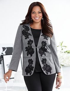 As beautiful as it is modern, our soft jacket flourishes with a romantic floral lace applique up the opened front. Layer it over our matching Midtown Lace Dress for coordinating style. Clip-closed front. Princess seams. Long sleeves. Faux besom waist pockets. Curved hem. Catherines jackets are styled exclusively for the plus size woman. catherines.com