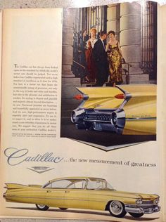 "Cadillac advertisement 1958 ""Cadillac car has always been looked upon as the standard by which the worlds motorcars should be judged. You're never before has Cadillac represented such a high standard of excellence as it does for 1959. For here is a motorcar that bears the unmistakable stamp of greatness not or me in the way it looks rides and handles but also in the pleasure and so is faction what renders. It'sstyling is elegant and graceful and majestic almost beyond description… It's a new…"