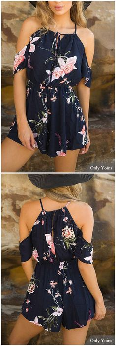 Maillot de bain : Lace-up Square-neck Random Floral Print Playsuit in Navy