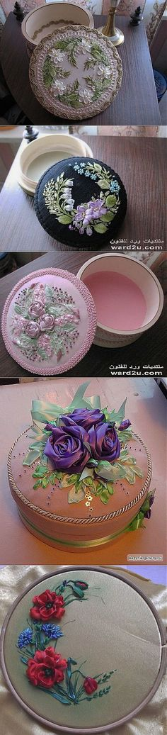 Wandafull Ribbon embroidery Kit Handmade Orchid green leaves (No frame) - Embroidery Design Guide Ribbon Embroidery Tutorial, Silk Ribbon Embroidery, Embroidery Applique, Cross Stitch Embroidery, Embroidery Patterns, Flower Making With Ribbon, Handmade Crafts, Diy And Crafts, Victorian Crafts