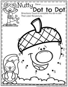 Acorn Dot to Dot - Fall Preschool Worksheets Fall Preschool Activities, Preschool Curriculum, Preschool Kindergarten, Preschool Crafts, Toddler Activities, Vocabulary Activities, Spanish Activities, Preschool Lessons, Homeschooling