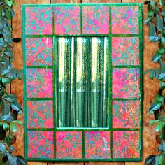 Ordinary cardstock and paint make beautiful dimensional tiles for this paper tile mirror project! Tile Projects, Crafty Projects, Book Crafts, Paper Crafts, Craft Books, Crafts To Sell, Diy Crafts, Large Stencils, Mirror Tiles