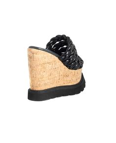 BRUNO BORDESE LEATHER BRAIDED WEDGE SHOES S/S 2016 Black leather  braided wedge shoes open back cork wedge: 10 cm