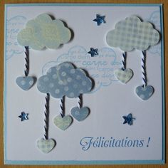Carte félicitation naissance nuage bleu ...