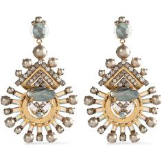 ELIZABETH COLE   Gold-tone faux-pearl, crystal and stone earrings (875 SAR) ❤ liked on Polyvore featuring jewelry, earrings, post earrings, faux pearl earrings, gold tone chandelier earrings, stone earrings and post back earrings