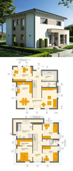 Stadtvilla Haus modern mit Galerie & Walmdach Architektur - Einfamilienhaus bauen Grundriss Fertighaus Sunshine 154 V6 Living Haus - HausbauDirekt.de