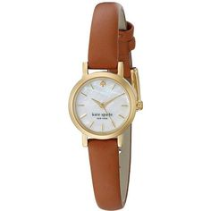 Kate Spade New York Tiny Metro Strap Watch - 1YRU0867 ($175) ❤ liked on Polyvore featuring jewelry, watches, brown, fashion watches, brown watches, water resistant watches, analog wrist watch, brown jewelry and gold plated watches