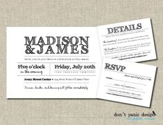 Now you can order the whole suite at once.  Check out this awesome rustic invitation set. Match the colors to your theme, or invert the black and white for a different look.