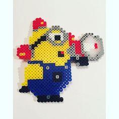 Minion perler beads by Diy Perler Beads, Pearler Beads, Minions, Iron Beads, Animation, Plastic Canvas Patterns, Beading Patterns, Pixel Art, Bowser
