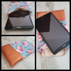 Tablet Tasche mit Blümchen und Kunstleder, innen flauschig weich - selbst genäht / selfmade Tasche nähen