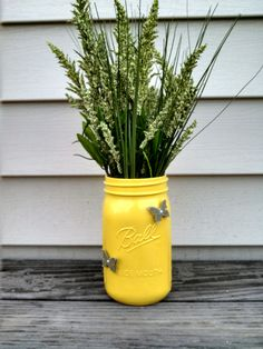 Vibrant yellow Mason jar arrangement! by ToastyBarkerBoutique on Etsy