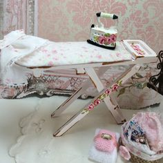 dollhouse ironing board with accessories by Mosswayminiatures on Etsy https://www.etsy.com/listing/212899574/dollhouse-ironing-board-with-accessories