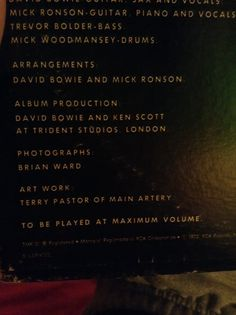 """""""To be played at maximum volume""""   Fuck yeah, bowie. Fuck yeah"""