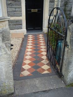 Front garden path with original Victorian quarry tiles. Like the black border tiles Front Garden Path, Front Path, Garden Paths, Victorian Tiles, Victorian Terrace, House Extension Plans, Small Front Gardens, Garden Tiles, Tiled Hallway