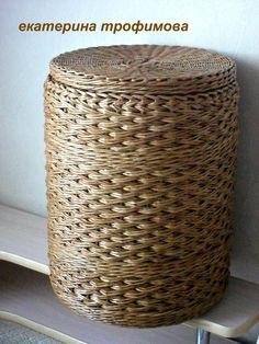 корзина короб газета бумага внутренний борт, плетение коса