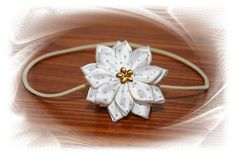 čelenka - krémová - květ, zlaté tečky